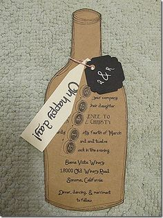 A great wine bottle invite from Winery Weddings of Virginia!