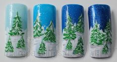mini painting - Christmas trees in fields of snow