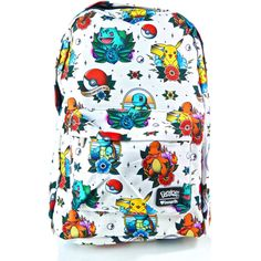 Loungefly X Pokemon Tattoo Backpack ($45) ❤ liked on Polyvore featuring bags, backpacks, backpack bags, loungefly backpacks, day pack backpack, zip top bag and blue bag