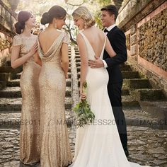 Glitter Rose Gold Cheap 2015 Mermaid Backless Bridesmaid Dresses Cap Sleeve Sequins Plus Size Beach Wedding Gown Light Gold Champagne Online with $79.17/Piece on Magicdress2011's Store | DHgate.com