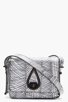 KENZO // BLACK & WHITE LEATHER PRINTED CURTAIN BAG