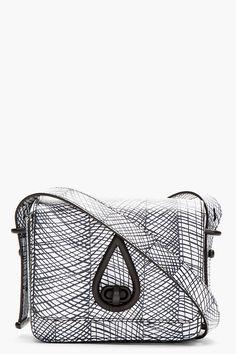 KENZO Black & white leather Printed Curtain Bag