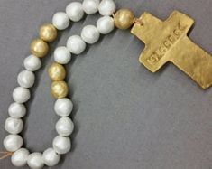 Large Handmade Wood and Clay Blessings Beads With Gold Cross - Wedding Gift, Baby Gift, Housewarming Gift, Bridal Shower Gift. Bead Crafts, Diy And Crafts, Bridal Shower Gifts, Anniversary Dates, Agate Necklace, Grey And Gold, Gold Cross, Clay Beads, Bead Art
