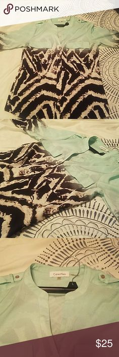 Calvin Klein Dress blouse mint green too with pattern on sleeves and bottom part. Like new Calvin Klein Tops Blouses