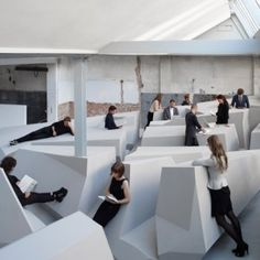 "The End of Sitting: Conceptual office swaps chairs and desks  for ""experimental work landscape"" by RAAF and Barbara Visser http://www.raaaf.nl/nl/projects/"