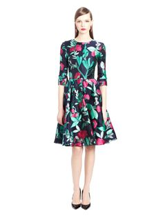 Oscar de la Renta - Painted Rosebud Fil Coupé cocktail dress