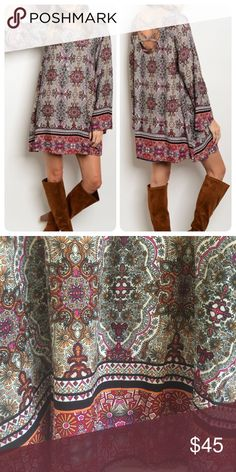 """Mixed Print Strappy Back Dress Mixed print colorful boho dress w/ strappy back detail. 100% Rayon & is fully lined. Looks great worn as tunic w/ skinnies or leggings to switch up the look. S (34"""" bust), M (36"""" bust), L (38"""" bust). 33"""" in length. Price is firm, unless bundled. Dresses Mini"""