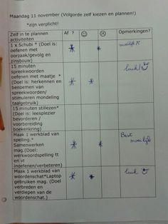 Dagplanning met doel voor de leerling in zijn werkmap #handig