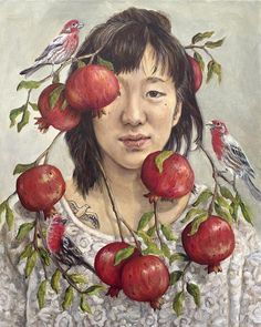 Portrait of a woman with pomegranates and finches. Birds and fruit growing from her head. Fine art surrealism print by Heather Buchanan.