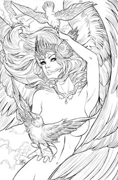 it will come out with jesse james comics at phoenix comic con this month! The Secret Life of Crows special edition Mystical Creatures Drawings, Creature Drawings, Bird Drawings, Robin Bird Tattoos, White Bird Tattoos, Free Printable Coloring Pages, Coloring Book Pages, Bird Outline Tattoo, Transférer Des Photos
