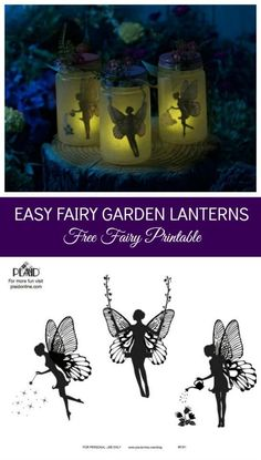 Make the Easiest Mason Jar Fairy Lantern tutorial with a Free Printable! We made this with Mod Podge and a mason jar - decoupage the free printable fairy silhouette into the jar and add a (Jar Diy Ideas) Mason Jar Projects, Mason Jar Crafts, Mason Jars, Fairy Crafts, Diy And Crafts, Crafts For Kids, Craft Projects, Projects To Try, Fairy Lanterns