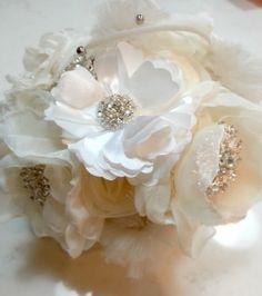 """Elena"" Bridal Wedding Heirloom Bouquet"
