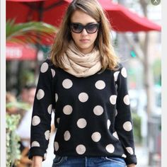 Vintage Madewell Spot Dot Sweater Worn twice, small hole at the neck where the tag fell off Madewell Sweaters Crew & Scoop Necks