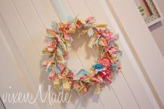 Bedroom door wreath using fabric scraps and rosettes (craftionary feature)
