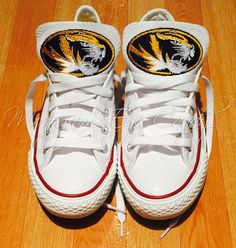 514b3ab32 Customized Converse Sneakers-MIZZOU Edition- White – Monogram Eye Candy  Converse Sneakers