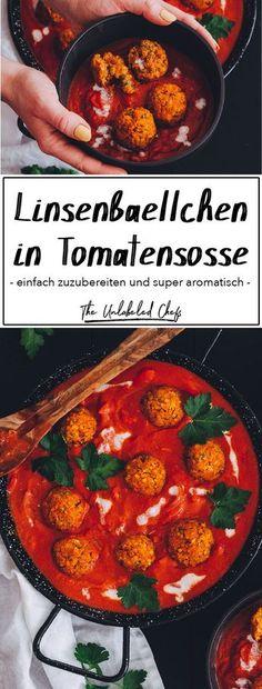 Linsenbällchen in Tomatensoße - The Unlabeled Chefs - Diese Linsenbällchen müsst ihr probieren. Healthy Food Recipes, Chef Recipes, Pizza Recipes, Easy Dinner Recipes, Vegan Recipes, Easy Meals, Lentil Recipes, Snacks Recipes, Keto Snacks