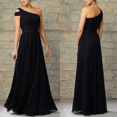 Long bridesmaid dresses, navy blue bridesmaid dress, one shoulder bridesmaid dress, cheap bridesmaid dress, junior bridesmaid dress, floor-length bridesmaid dress, chiffon bridesmaid dress, PD18042
