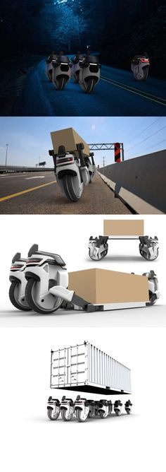The Transwheel concept reimagines package distribution as a round-the-clock autonomous service carried out by robotic single-wheel drones that work independently and together to ensure timely, efficient delivery.