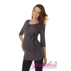 Lovely 2in1 Maternity and Nursing 3/4 Sleeved Wrap Top 7035 Graphite   Maintain your pre-bump style throughout your pregnancy with our comfortable and affordable 2in1 maternity and nursing wrap top. This 3/4 sleeved top tunic with inner fabric in the neckline has been designed by Purpless to give you comfort and style during your pregnancy and whilst breastfeeding.