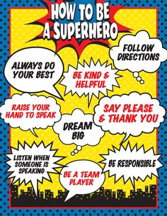 Superhero classroom decor is one of my favorite themes for back to school. The superhero theme encourages self discovery and the unique tal. Superhero Classroom Theme, Superhero Party, Future Classroom, Classroom Themes, Superhero Bulletin Boards, Superhero Poster, Superhero Kindergarten, Superhero Rules, Superhero Door Decorations Teachers