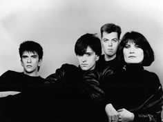 Sandie Shaw with Mike Joyce, Johnny Marr and Andy Rourke of The Smiths ― photo by Peter Ashworth (1984).