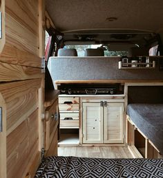 camper van interior in knotty pine and shades of gray Vw Lt Camper, Camper Diy, Rv Campers, Camper Beds, Motorhome Interior, Campervan Interior, T4 Camper Interior Ideas, Motorhome Living, Sprinter Van Conversion