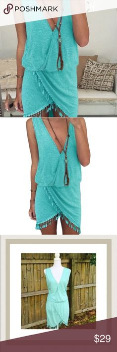 Teal Fringe Dress Teal deep vneck dress with fringed detail. Lightweight soft cotton. Falls a few inches above knee. NWOT. Reasonable offers welcome. Dresses Midi