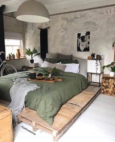 Buy products connected to rustic bedroom decor products and see what clients say about rustic room design products. Pallet Furniture Designs, Home Furniture, Furniture Ideas, Bedroom Furniture, Pallet Furniture Bed, Wood Pallet Beds, Dresser Furniture, Pallet Designs, Furniture Buyers
