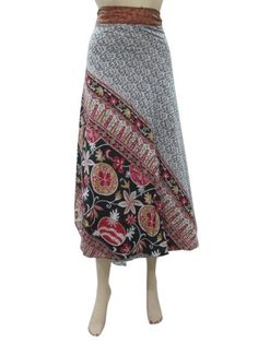 Amazon.com: Boho Wrapskirt Vintage Sari Black Brown Printed Reversible Wrap Around Skirts: Clothing