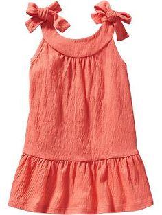 Tie-Shoulder Crinkle Dresses for Baby