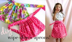 DIY Wipe-Down Apron Tutorial, made from vinyl table cloths! So smart!  These would be awesome as a full-apron for my little boys, too. (from Ruffles and Stuff)