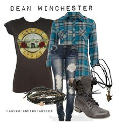 """Dean Winchester"" by chazza071 ❤ liked on Polyvore featuring Dorothy Perkins, DK, Betsey Johnson, Tai, supernatural, dean winchester and fandom"