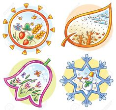 Buy The Four Seasons in Cartoon Hand Drawn Pictures by katya_dav on GraphicRiver. The four seasons in cartoon hand drawn pictures, Vector Montessori Classroom, Classroom Decor, Colorful Drawings, Easy Drawings, Weather For Kids, Weather Seasons, Cartoon Pics, Kids Education, Preschool Activities