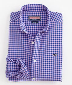 Vineyard Vines Gingham Slim-Fit Whale Shirt in Orchid