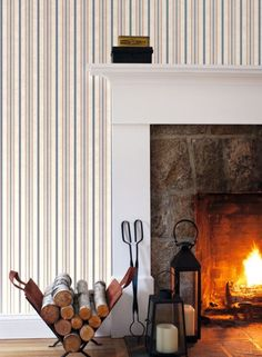 York Wallcovering: Shirting Stripe from the new Stripes Resource Library Striped Wallpaper Red, Stripped Wallpaper, White Wallpaper, Luxury Interior, Modern Interior, Home Interior Design, Neat And Tidy, Blue Wallpapers, Designer Wallpaper