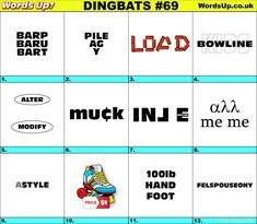 Dingbats & Whatzits Rebus online and printable Puzzles Rebus Puzzles, Printable Puzzles, Logic Puzzles, Word Up, Word Play, Brain Games, Word Games, Brain Teasers, Free Quotes