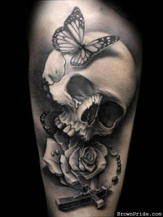 Black and Grey Skull and Butterfly Tattoo