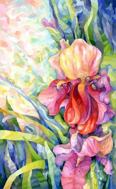 Iris by vasoiko on DeviantArt Watercolor Print, Watercolor Paintings, Flower Paintings, Watercolours, Acrylic Flowers, Iris Flowers, Let's Make Art, Painting Inspiration, Design Inspiration