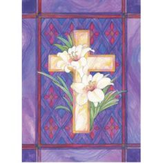 Toland Home Garden Lily and Cross x 18 Inch Decorative Stained Glass Easter Flower Garden Flag
