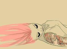 girl, tattoo, draw, pink