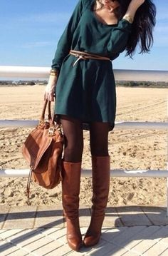 green dress with brown leather belt black tights autumn outfit