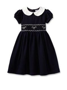 65% OFF Rachel Riley Girl\'s Bow Smocked Dress (Navy)