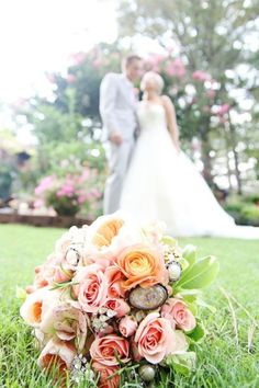 I really like the composition of the wedding bouquet with the married couple in the background - Mixed Floral + Brooch Bouquet Cute Wedding Dress, Flower Bouquet Wedding, Wedding Pics, Floral Wedding, Dream Wedding, Wedding Day, Wedding Dreams, Bridal Bouquets, Wedding Things