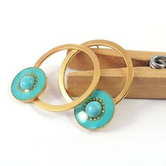 Gold circle Turquoise studs Earrings 24K gold by @SigalitAlcalai, $51.00