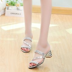 $18.60 Silver size 6 Charming Genuine Leather high heeled Rhinestone Sandals Slipeprs 2017 Spring Summer women's Diamond Sandals Sexy Open Toe Shoes-in Women's Sandals from Shoes on Aliexpress.com   Alibaba Group