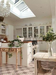 I love the open lighting from the skylight in this kitchen with the farmhouse vibe from the vase and succulent accents!