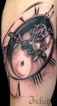 Clock by El Fibs #InkedMagazine #gears #clock #timepiece #Inked #ink #art #tattoo #tattoos