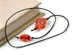 Book Thong Bookmark Orange Book String Book Cord by TJBdesigns