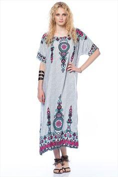 Etnik Seçimler - Kadın Tekstil - Gri Elbise 113814 %76 indirimle 89,99TL ile Trendyol da