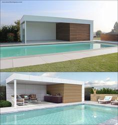 Pergola For Car Parking Key: 4254765549 Outdoor Kitchen Design, Patio Design, Exterior Design, Wood Design, Modern Pool House, Modern Pools, Ideas De Piscina, Parrilla Exterior, Leisure Pools